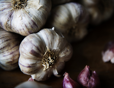Closeup of garlic and red onions