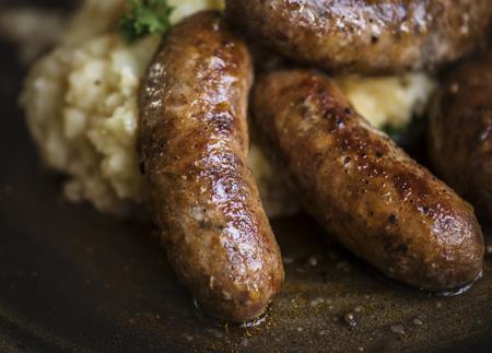 Bangers and mash food photography recipe idea Reklamní fotografie