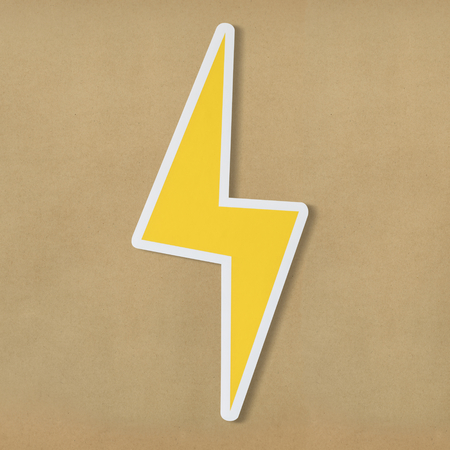 Yellow electric lightning bolt icon Stok Fotoğraf - 109896923