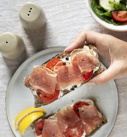 Prosciutto sandwich food photography recipe idea