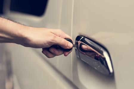 Unlocking a car door with a key