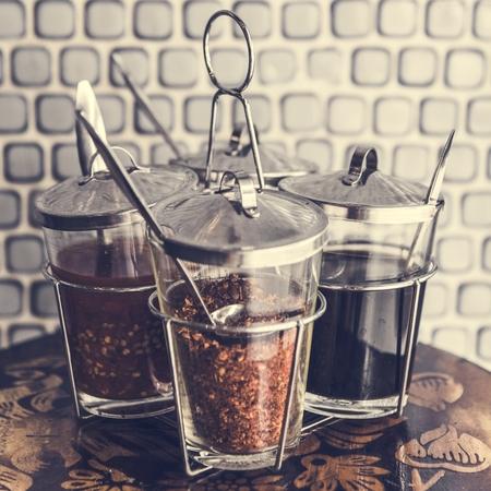 Closeup of Asian noodle seasoning set Stock fotó