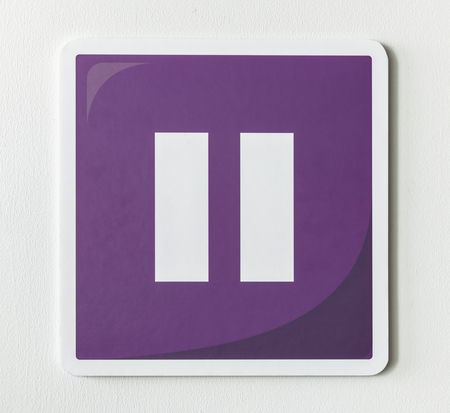 Purple pause button music icon