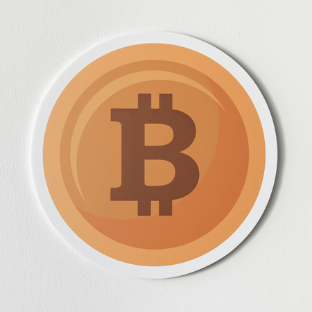 Copper bitcoin cryptocurrency icon isolated