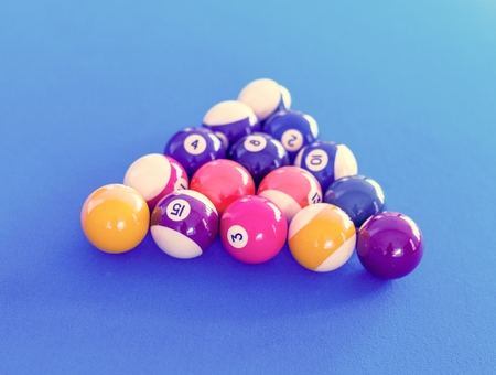 Billard balls setup on a pool table
