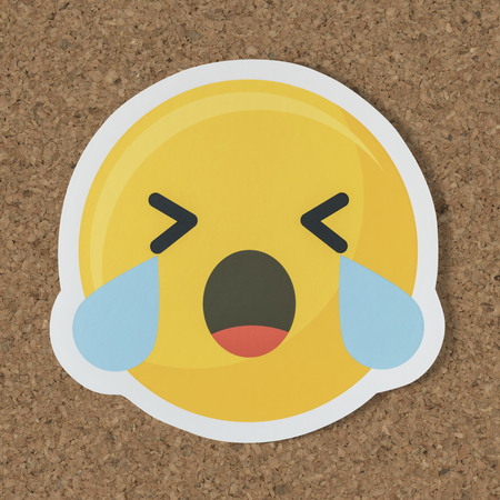 Sad crying face emoticon symbol 版權商用圖片