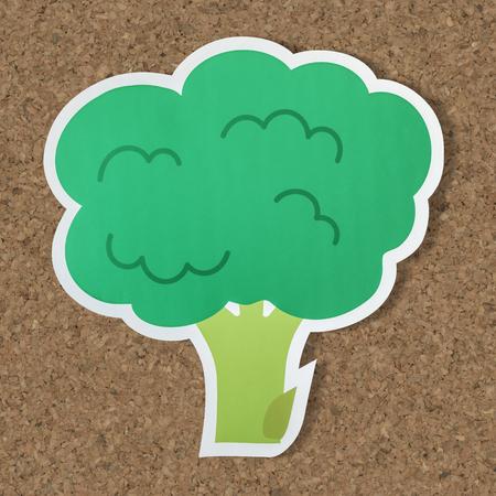 Brocolli antioxidant vegan food icon Stock Photo