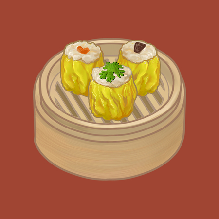 Chinese dumplings in a bamboo steamer illustration Reklamní fotografie - 110044209