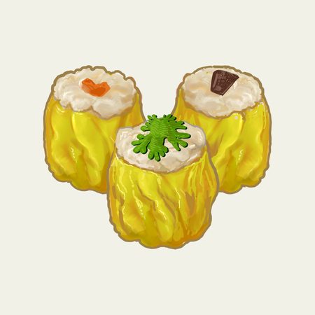Three steamed chinese dumplings illustration