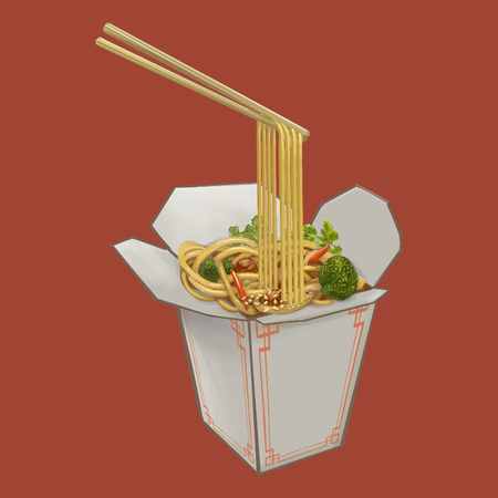 Chow mein in takeaway box illustration Stock Photo