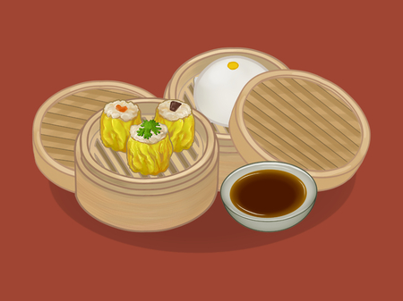 Chinese dumplings and bun illustration