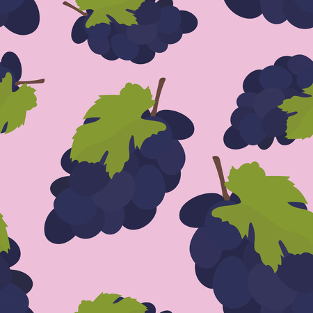 Colorful hand drawn grape pattern Imagens