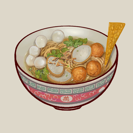 Nooodle soup with fish balls illustration Stockfoto