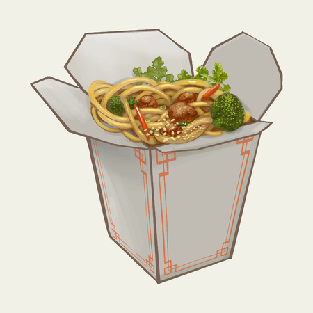 Chow mein in takeawy box illustration Stock fotó