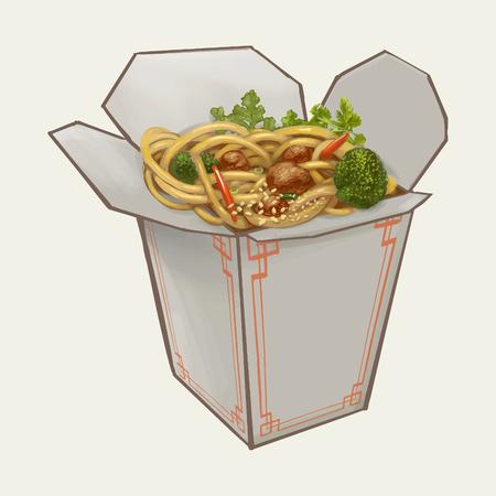 Chow mein in takeawy box illustration Stock Photo