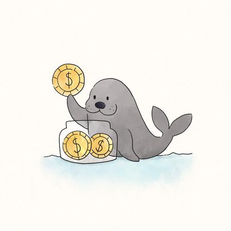 Seal saving coins in a jar 写真素材