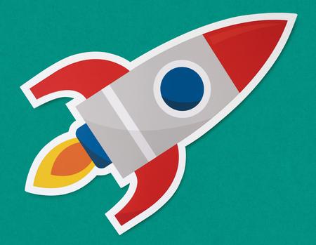 Rocket ship launching symbol icon Stok Fotoğraf - 110045093