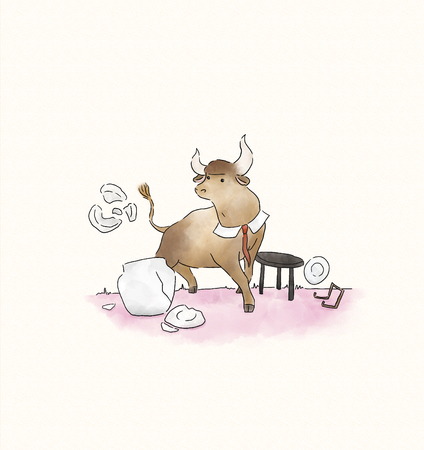 Stressed bull making a mess