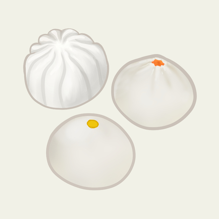 Three Chinese steamed buns illustration Stock fotó