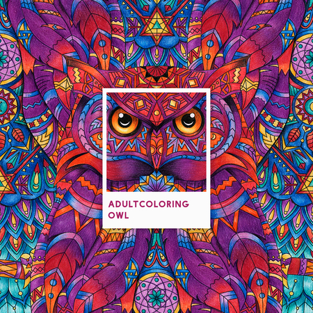 Pink owl adult coloring illustration Фото со стока