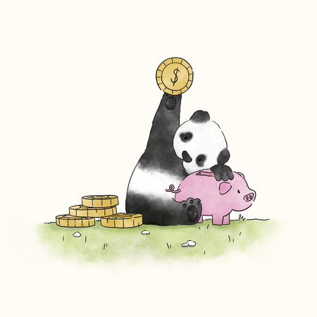 Panda saving money in a piggy bank Banco de Imagens