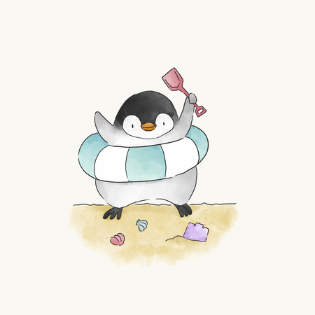 Happy penguin playing at a beach