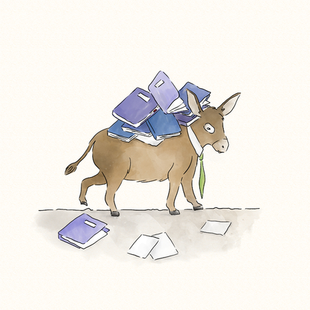 Donkey carrying a load of books Stock Photo