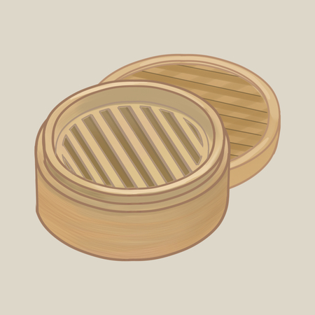 Bamboo steamer with lid illustration