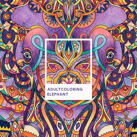 Purple elephant adult coloring illustration Фото со стока