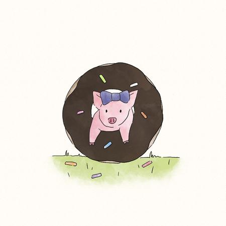 Piggy jumping through a doughnut