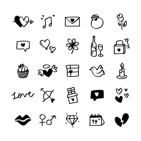 Collection of illustrated valentine's icons Stok Fotoğraf