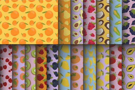 Set of colorful hand drawn fruit patterns