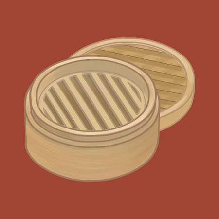Bamboo steamer with lid illustration Фото со стока