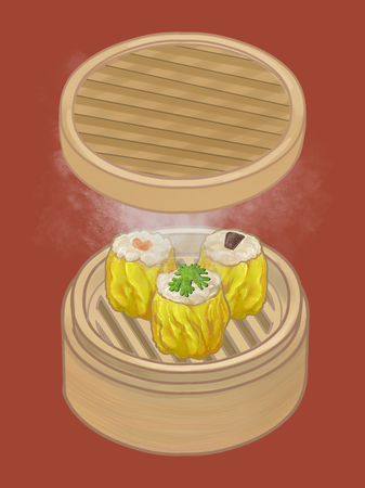 Chinese dumplings in a bamboo steamer illustration