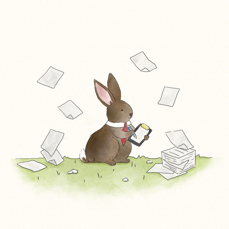 Busy bunny rabbit signing documents