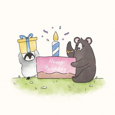 Bear and penguin having a birthday party