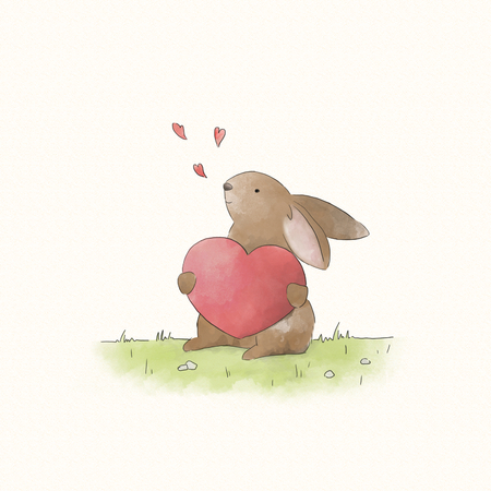 Bunny rabbit holding a red heart
