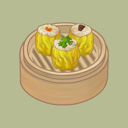 Chinese dumplings in a bamboo steamer illustration Imagens - 110060961