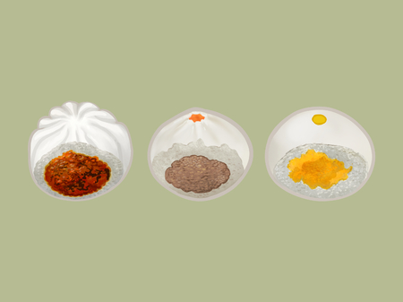 Three Chinese steamed buns illustration 版權商用圖片 - 110061013