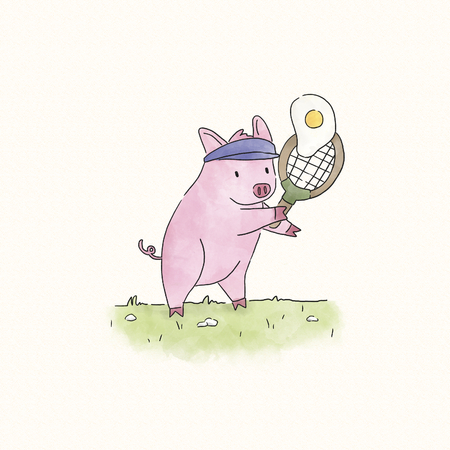 Pig playing tennis with a fried egg Imagens