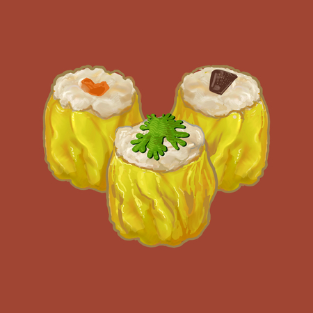Three Chinese style dumplings illustration Foto de archivo - 110061217