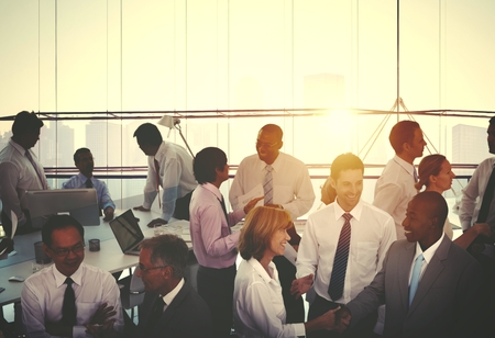 Large group of business people in an office Stock Photo