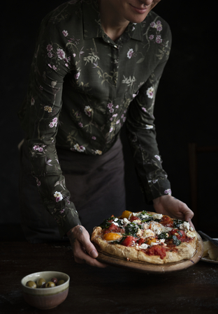 Serving pizza food photography recipe idea 스톡 콘텐츠