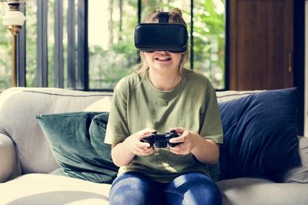 People enjoying virtual reality goggles Stockfoto
