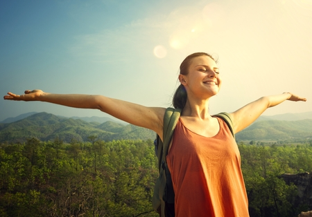 Woman enjoying th efresh air in nature