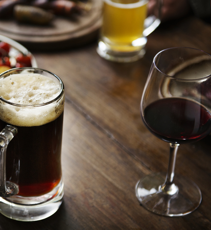 Glasses of alcohol on the table Stock Photo
