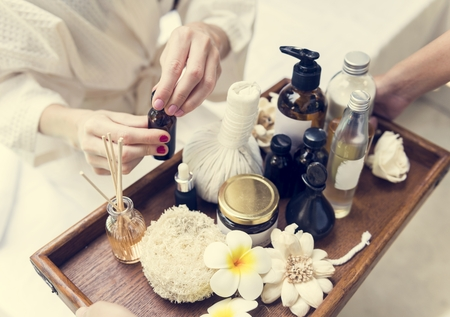 Assortment of spa products and oils 写真素材