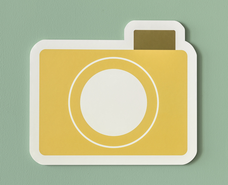 Icon of yellow paper camera folder Stock Photo