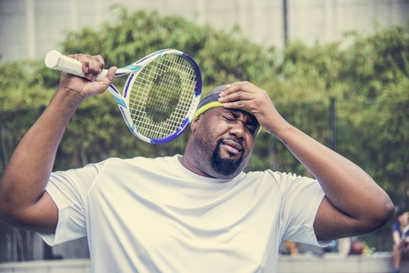 Tennis player losing the match Banque d'images