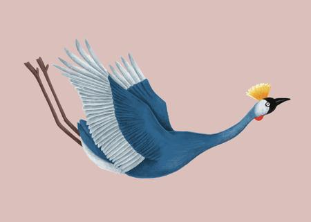 Illustration of a Japanese crane Stock Photo